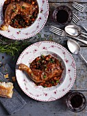 Coq au vin with red wine