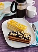 A honeycomb slice and a lemon slice with coffee