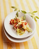 Saltimbocca with tomatoes and frisée lettuce