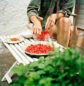 Woman prepare cherries for a pie.