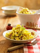 Tagliatelle with anchovies, raisins, pine nuts and fennel