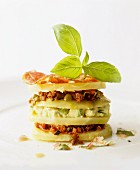 A tower of kohlrabi with avocado and dry-cured ham