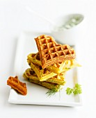 A stack of herb waffles