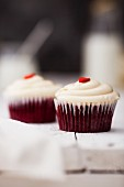 Red Velvet Cup Cake topped with cream cheese frosting