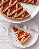 Linzer Torte (traditional lattice pie) with peppers and sage