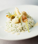 Herb rice with white asparagus and prawns
