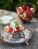 Fruit dessert with yoghurt