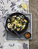 Sea mussels pasta dish