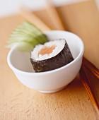 A maki sushi with salmon