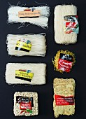 Assorted types of pasta from Asia, with labels
