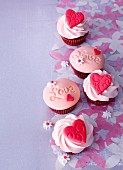 Red Velvet Cupcake with Cream Cheese Frosting and Pink Sprinkles