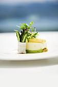 White asparagus mousse with a wild garlic & potato sponge, and green asparagus with lardo di colonnata