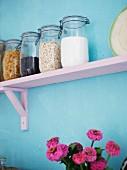 Jars on a shelf, Sweden.