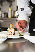 Chef prepares dish of eggplant parmesan with basil sauce, Italy, Europe