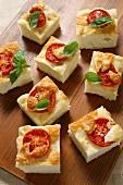 Focaccia with tomatoes and smoked Mozzarella cheese, Italy