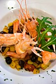 Shrimps with aubergines, Helvetia Beauty Farm hotel, Porretta Terme, Emilia Romagna, Italy