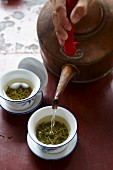 Longjing tea being made