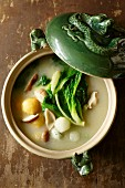 Mushroom soup with a trio of dumplings and bok choy