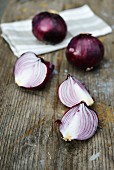 Red onions, whole and cut into wedges