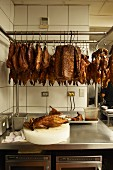 Smoked meat and poultry in a commercial kitchen