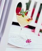 Champagne granita with wild strawberries