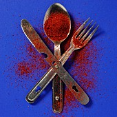 Cutlery dusted with ground paprika against a blue background