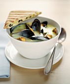 Creamy mussel soup with mussels