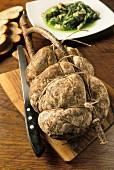 Franciacorta salami with chicory, La Vineria restaurant, Brescia, Lombardy, Italy
