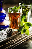 Eastern-style peppermint tea with fresh mint and black tea