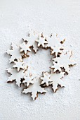 Walnut biscuits in the shape of snowflakes