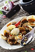 Clams with marinara sauce