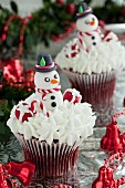 Red Velvet cupcakes with cream cheese frosting and snowmen