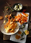 Sweet potato crisps and rosemary crisps with pumpkin seed dip