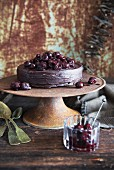 Chocolate mousse cake with sour cherries