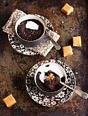 Baked chocolate pudding with toffee