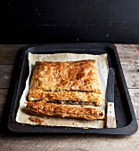 Tray-baked puff pastry pie with mushrooms