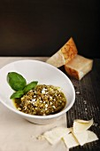 Pesto with fresh basil and parmesan