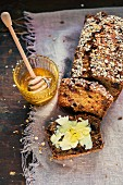 Fruitcake with butter and honey