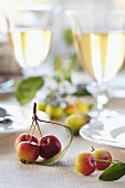 Ornamental apples as table decoration