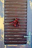 Dried red chillies hanging on a weathered wooden door