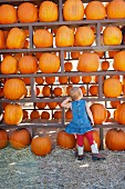 Female toddler looking at pumpkin harvest