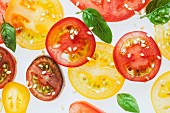 Backlit sliced assorted tomatoes with basil leaves