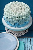 Pale blue shadow cake with buttercream icing