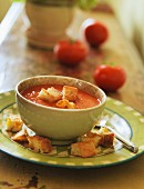 A Bowl of Tomato Soup with Homemade Croutons