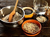 seeded bread ingredients, whole grain flour, poppy seeds, sunflower seeds, linseed, sesame seeds