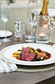 Venison fillet with spinach and chestnuts