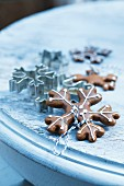 Lebkuchen biscuits (spiced soft gingerbread from Germany) in the shape of snowflakes, for Christmas