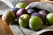 Plums and greengages on a linen napkin