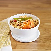 Sweet potato orzo with peppers, and sugar snap peas
