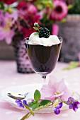 Blackberry dessert with cream